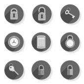 Code lock padlock key protect safe closed round gray flat modern icon set isolated on white background — Stock Vector