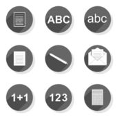 Document write count collect send  round gray flat modern icon set isolated on white background — Stockvector