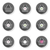 Shopping basket full empty add pay take give back round gray flat modern icon set isolated on white background — Vecteur