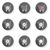 Shopping trolley full empty add pay take give back round gray flat modern icon set isolated on white background — Stock Vector