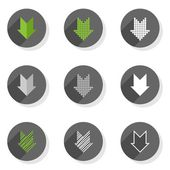 Different colorful down direction arrow set round gray flat modern icon set isolated on white background — Stock Vector