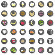 36 eggs bread fruit vegetables juice milk cereal meat sausages cheese cutlery coffee flat modern colorful isolated icon set with light shadow on white — Stock Vector