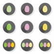 Flat modern colorful patterned eggs Easter spring seasonal icon set isolated on white background — Stock Vector