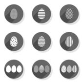 Flat modern monochrome patterned eggs Easter spring seasonal icon set isolated on white background — Stock Vector