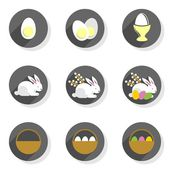 Flat modern colorful eggs rabbits willow twigs basket Easter spring seasonal icon set isolated on white background — Stock Vector