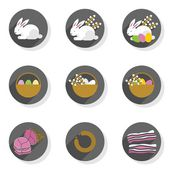 Flat modern colorful eggs rabbits willow twigs basket ham sausage bacon Easter spring seasonal icon set isolated on white background — Stock Vector