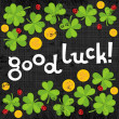 Good luck wishes on green clover meadow with little ladybirds and golden coins shamrock St Patrick Day holiday spring card illustration on dark gray background — Stock Vector