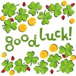 Good luck wishes on green clover meadow with little ladybirds and golden coins shamrock St Patrick Day holiday spring card illustration on white background — Stock Vector