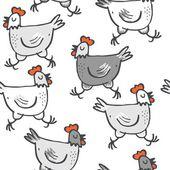 White gray hens run animals wildlife seamless pattern on white background — Stock Vector