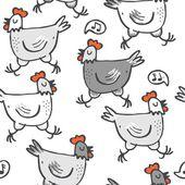 White gray singing hens run animals wildlife seamless pattern on white background — Stock vektor