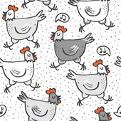 White gray singing hens run animals wildlife seamless pattern on white dotted background — Stock Vector