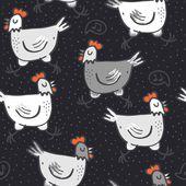 White gray singing hens run animals wildlife seamless pattern on dark dotted background — Stock vektor
