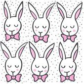 White rabbits in rows spring Easter holiday illustration on white dotted background seamless pattern — Stock Vector