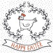 White hen in willow wreath spring holiday Easter centerpiece illustration with flag banner with wishes in English on white dotted background — Stock Vector