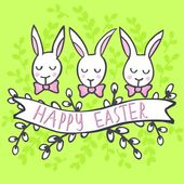 White rabbits in row Happy Easter spring Easter holiday centerpiece illustration isolated on green patterned background — Stock Vector