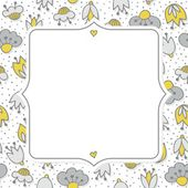 Messy different colorful yellow gray flowers on white background with little dots retro botanical seamless pattern with retro shaped frame with place for your text greeting card — Stock Vector