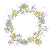 Messy different colorful yellow gray flowers in round wreath on white background with little dots retro botanical centerpiece illustration with place for your text — Stock Vector