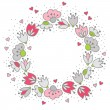Messy different colorful pink gray flowers and hearts in round wreath on white background with little dots retro romantic botanical centerpiece illustration with place for your text — Stock Vector