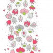 Messy different colorful pink gray flowers and hearts on white background with little dots retro romantic botanical seamless vertical border — Stock Vector