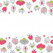 Messy different colorful pink gray flowers and hearts on white background with little dots retro romantic botanical seamless double horizontal border — Stock Vector