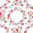 Messy different colorful pink gray flowers and hearts in round wreath on white background with little dots retro romantic botanical seamless pattern — Stock Vector