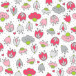 Messy different colorful pink gray flowers and hearts on white background with little dots retro romantic botanical seamless pattern — Stock Vector