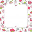 Messy different colorful pink gray flowers and hearts on white background with little dots retro romantic botanical seamless pattern with retro shaped frame with place for your text greeting card — Stock Vector