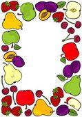 Delicious ripe fruit mix frame isolated on white background colorful illustration — Stockvektor