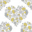 Messy different colorful yellow gray flowers and hearts in heart shape on white background with little dots retro romantic botanical seamless pattern — Stock Vector #46924461