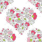 Messy different colorful pink gray flowers and hearts in heart shape on white background with little dots retro romantic botanical seamless pattern — Stock Vector