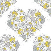 Messy different colorful yellow gray flowers and hearts in heart shape on white background with little dots retro romantic botanical seamless pattern — Stock Vector