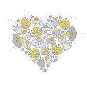 Flowers  in heart shape — Stock Vector