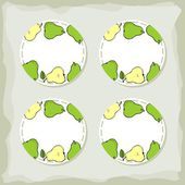 Green pears round sticker set — Stock Vector
