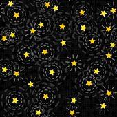 Dark night with messy little golden sparkling stars on dark background seasonal seamless pattern — Stock Vector