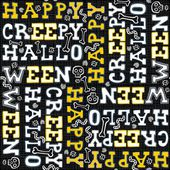 Happy creepy halloween white black yellow letters autumn holiday colorful seamless pattern on dark background — Stock Vector