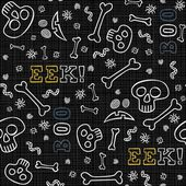 Boo eek halloween themed white border letters with skulls bones and worms autumn holiday colorful seamless pattern on dark background — Stockvector