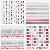 Set of white gray pink vector seamless patterns with dots stripes chevron and crosses on light background — Stock Vector