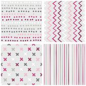 Set of white gray pink vector seamless patterns with dots chevron crosses and stripes on light background — Stock Vector