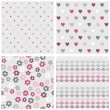 Set of white gray pink vector seamless patterns with dots hearts flowers and diamonds on light background — Stock Vector #49981627