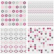 Set of white gray pink vector seamless patterns with flowers dots diamonds and hearts on light background — Stock Vector #49987971