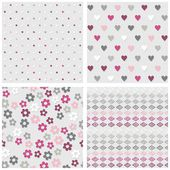 Set of white gray pink vector seamless patterns with dots hearts flowers and diamonds on light background — Stock Vector