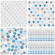 Set of white gray blue vector seamless patterns with dots hearts flowers and diamonds on light background — Stock Vector #49997473