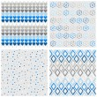 Set of white gray blue vector seamless patterns with hearts flowers dots and diamonds on light background — Stock Vector #49997695