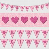 Sweet pink baby girl shower birthday flags and ribbon bunting set on light background — Wektor stockowy