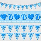 Sweet blue baby boy shower birthday flags and ribbon bunting set on light background — Wektor stockowy