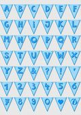 Blue stripd letters and numbers on triangle banner flags light patterned baby boy alphabet set — Stock Vector