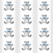 Toy animal elegant teddy bear on white doily vertical ribbon blue baby boy room decorative seamless pattern on light background — Stock Vector