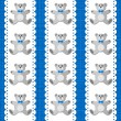 Toy animal elegant teddy bear on white doily vertical ribbon blue baby boy room decorative seamless pattern on blue background — Stock Vector