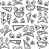 Funny scary faces messy monochrome autumn holiday halloween seamless pattern on white background — ストックベクタ