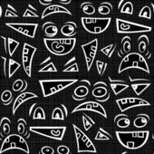 Funny scary faces messy monochrome autumn holiday halloween seamless pattern on dark background — ストックベクタ
